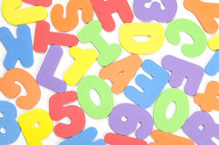 Foam numbers and Letters Royalty Free Stock Images