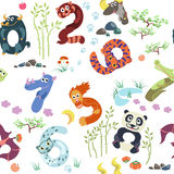 Numbers like Asian animals pattern. Solid fill vector seamless pattern Stock Image