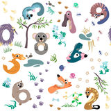 Numbers like Australian animal seamless pattern Stock Photos