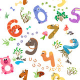 Numbers like farm animals seamless pattern Stock Photo