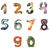 Numbers like North America animals. Solid fill vector cartoon illustration Stock Photography