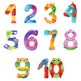 Numbers like robots in fairy style Stock Photography