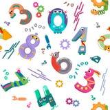Numbers like robots seamless pattern royalty free illustration