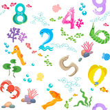 Numbers like sea inhabitants seamless pattern Royalty Free Stock Photography