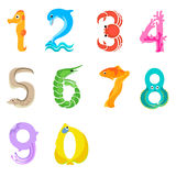 Numbers like sea inhabitants. Solid fill numbers concept in eps 8 format Stock Photo