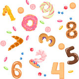 Numbers like sweets and buns seamless pattern. Solid fill vector cartoon seamless pattern Royalty Free Stock Photo