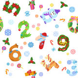 Numbers like symbols of the Christmas pattern. Solid fill vector seamless pattern Stock Photography