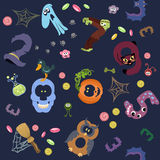 Numbers like symbols of the Halloween pattern on navy. Solid fill vector cartoon seamless pattern Stock Image