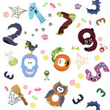 Numbers like symbols of the Halloween pattern on white. Solid fill vector cartoon seamless pattern Stock Photos
