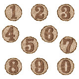 Numbers on log slices Royalty Free Stock Photo