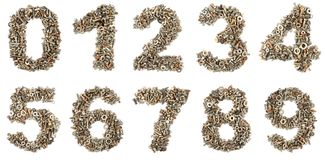 Numbers made of bolts Royalty Free Stock Photos
