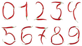Numbers made from chili Stock Image