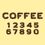 Numbers made of  coffee in flat design Stock Photography