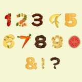 Numbers made of different food in flat design Royalty Free Stock Image