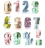 Numbers  made from euro  banknotes on white background. Numbers 0 to 9, dot and comma made from euro bills isolated on white background Royalty Free Stock Photography