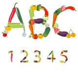 Numbers made of fruits and vegetables. Vector Royalty Free Stock Photography