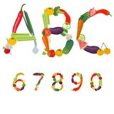 Numbers made of fruits and vegetables. Vector Royalty Free Stock Image