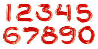 Numbers made of ketchup on white background Stock Photos