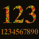 Numbers made with leaves, floral numerals set, vector illustrati Royalty Free Stock Photography