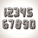 Numbers Made from Old Cracked Stone Vector. Alphabet Numbers Made from Old Cracked Stones. Vector Set of Grunge Font Letters Royalty Free Stock Photography