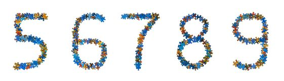 Numbers made of puzzle pieces - education concept Stock Illustration