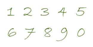 Numbers Made of tree leaves  Isolated on White Background Stock Photo