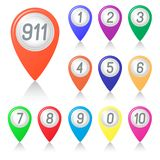 The numbers on the map arrows. Royalty Free Stock Images