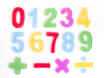 Numbers and math. Signs on white background Stock Image