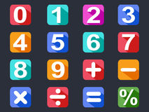 Numbers and math long shadow icons set Stock Photography