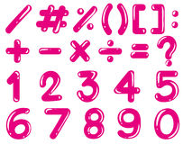 Numbers and math signs in pink color Stock Photo