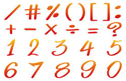 Numbers and math signs in red color Royalty Free Stock Image
