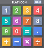 Numbers and Mathematical Icons set in flat style. Vector application Numbers and Mathematical Icons set in flat style with long shadows Stock Image