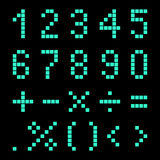Numbers and mathematical signs from pixels. Stock Image