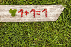 Numbers and mathematical signs from strawberries. Simple math task Stock Images