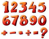 Numbers and mathematical symbols. Illustration of the numbers and mathematical symbols on a white background Stock Images