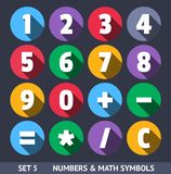 Numbers and Mathematical Symbols. Vector Icons Stock Images