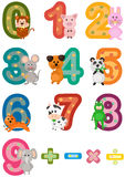 Numbers mathematics with animals. Illustration of isolated numbers mathematics with animals Stock Photography