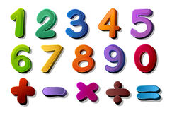 Numbers and maths symbols. Illustration of numbers and maths symbols on white Royalty Free Stock Photos