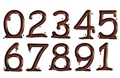 Numbers melted chocolate. Illustrations of Isolated melted chocolate Numbers Royalty Free Stock Image