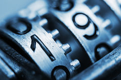 Numbers of metal with very little depth of field Royalty Free Stock Photos