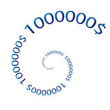 Numbers million background. Twisted spiral stock illustration