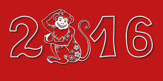 Numbers 2016 with Monkey.Chinese zodiac.Red Royalty Free Stock Photos