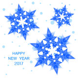 2017 numbers of new year and blue snowflakes. Happy New Year 2017. Numbers 2017 with blue snowflakes and snow on a white background. Inscription 2017 and blue vector illustration