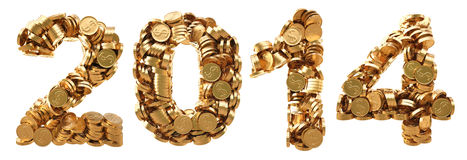 Numbers. New 2014 year from the golden coins. isolated on white Stock Images