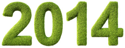 Numbers. New 2014 year from the green grass. isolated on white Royalty Free Stock Images