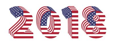 2018 numbers 3d american flag new year. 2018 numbers new year isolated on white background. Letters from 3d american flag textured wrapped. Volume USA  font Stock Images