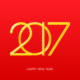 2017 numbers of new year on red gradient background. 2017 Happy New Year. 2017 numbers on red gradient background. 2017 type vector illustration with 3d gold Royalty Free Stock Image