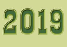 Numbers of new year 2019. Vector of new year numbers 2019 with green color ,paper cut style vector illustration