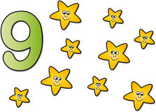 Numbers: nine. Stock numbers : number nine with nine stars Stock Images