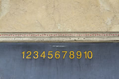 Numbers. Old school blackboard in wooden frame with numbers across the top royalty free stock photography
